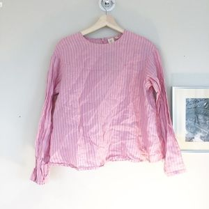 Uniqlo 100% Linen Stripped Pink Blouse